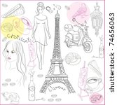 hand drawn collection of... | Shutterstock .eps vector #74656063