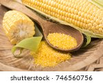 flour corn in a spoon  cereal... | Shutterstock . vector #746560756