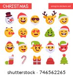 christmas emoji set. holiday... | Shutterstock .eps vector #746562265