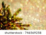 fir tree spruce branch with... | Shutterstock . vector #746569258