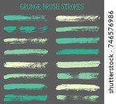 modern watercolor daubs set ... | Shutterstock .eps vector #746576986