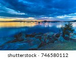 dawn waterscape over the bay  ... | Shutterstock . vector #746580112