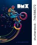 bmx. biker in a jump. poster in ... | Shutterstock .eps vector #746588272