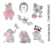 set of cute little animals.... | Shutterstock .eps vector #746590942