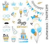 birthday party icon set in blue ... | Shutterstock .eps vector #746591395