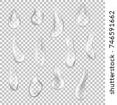 set of transparent drops of... | Shutterstock .eps vector #746591662