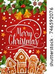 christmas cookie greeting card... | Shutterstock .eps vector #746592076