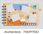 scrapbooking album with travel... | Shutterstock .eps vector #746597032