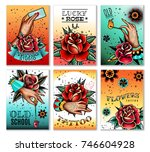 old school tattoo art roses and ... | Shutterstock .eps vector #746604928