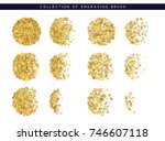 gold sequins texture. set brush ... | Shutterstock .eps vector #746607118