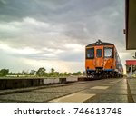 the classic  old asia train on... | Shutterstock . vector #746613748