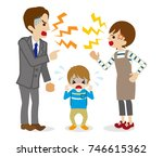 quarreling parents and crying...   Shutterstock .eps vector #746615362