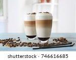 glasses with latte macchiato on ... | Shutterstock . vector #746616685