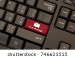 email new message red key on... | Shutterstock . vector #746621515