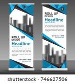 blue roll up banner template.... | Shutterstock .eps vector #746627506