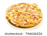 hawaiian pizza on wooden tray... | Shutterstock . vector #746636326