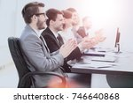 chief and businessman team on... | Shutterstock . vector #746640868