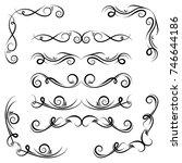 calligraphic design elements.... | Shutterstock .eps vector #746644186