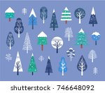 winter tree illustration | Shutterstock .eps vector #746648092