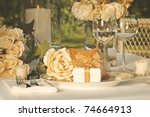 gold wedding party favors on... | Shutterstock . vector #74664913