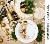 christmas table setting with... | Shutterstock . vector #746652202