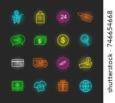 shopping neon icon set  vector... | Shutterstock .eps vector #746654668