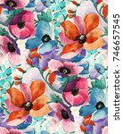 watercolor flower pattern | Shutterstock . vector #746657545