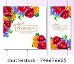 invitation with floral... | Shutterstock . vector #746676625