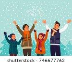 happy family having fun outdoor ... | Shutterstock .eps vector #746677762