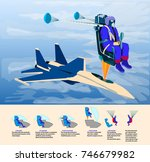 catapulting proces jet pack...   Shutterstock .eps vector #746679982