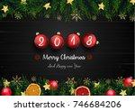 vector illustration of merry... | Shutterstock .eps vector #746684206