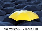 unique yellow umbrella among... | Shutterstock . vector #746685148