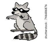 cute cartoon raccoon | Shutterstock .eps vector #746686876