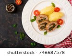 roll of turkey minced meat with ... | Shutterstock . vector #746687578