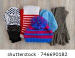 knitted clothes for cold... | Shutterstock . vector #746690182