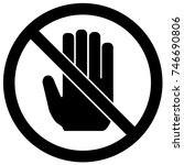 do not touch sign black and... | Shutterstock .eps vector #746690806