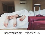 couple of tourists sleeping in... | Shutterstock . vector #746692102