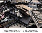 pieces of broken cracked lcd... | Shutterstock . vector #746702506