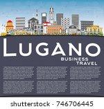 lugano switzerland skyline with ... | Shutterstock . vector #746706445