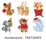 vector set of cartoon images of ... | Shutterstock .eps vector #746710492