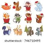 vector set of twelve cartoon... | Shutterstock .eps vector #746710495