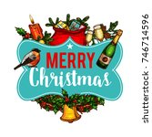 merry christmas greeting wish... | Shutterstock .eps vector #746714596