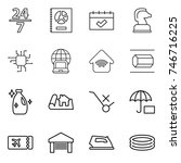 thin line icon set   24 7 ... | Shutterstock .eps vector #746716225
