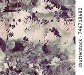 imprints bouquet of meadow... | Shutterstock . vector #746718682