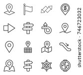 thin line icon set   pointer ... | Shutterstock .eps vector #746723032