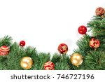 christmas frame   tree branches ... | Shutterstock . vector #746727196