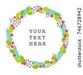 christmas plants laurel. vector ... | Shutterstock .eps vector #746728942
