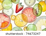 back projected citrus slices. | Shutterstock . vector #74673247