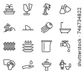 thin line icon set   fountain ... | Shutterstock .eps vector #746734822