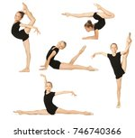collage of young girl gymnast... | Shutterstock . vector #746740366
